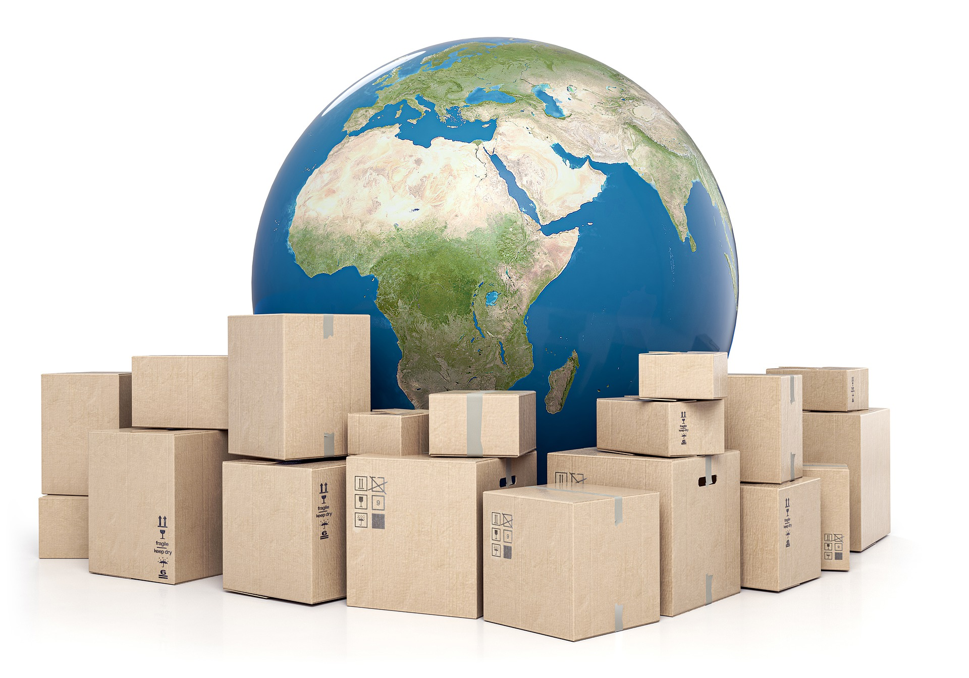 Boxes sitting around a picture of the earth